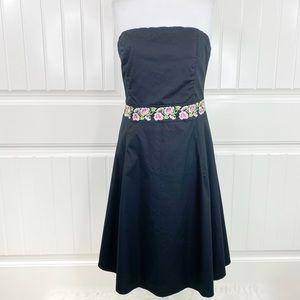 Shoshanna Strapless Embroidered Poplin Midi Dress